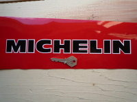 """Michelin Cut Vinyl Black with White Outline Text Stickers. 10"""" or 12"""" Pair."""