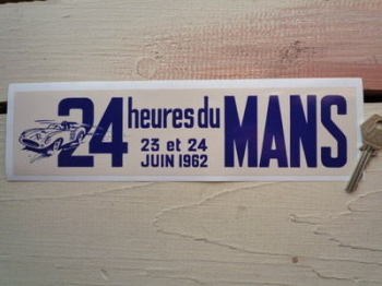 "24 Heures Du Mans 1962 LeMans Le Mans Oblong Sticker. 10.5""."