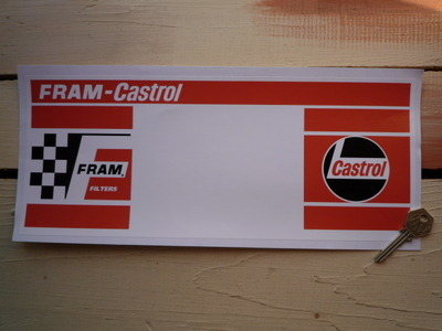"Fram Filters & Castrol Oil Rally Plate Sticker. 14""."