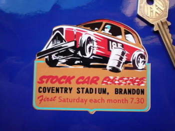 "Stock Car Racing at Coventry Stadium, Brandon Sticker. 3.5""."