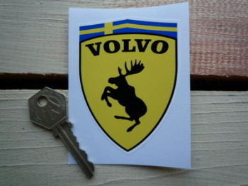 "Volvo Funny Ferrari Style Prancing Moose Shield Sticker. 2.5""."