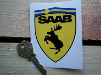 "Saab Funny Ferrari Style Prancing Moose Shield Sticker. 2.5""."