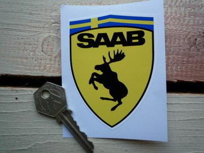"Saab Funny Ferrari Style Prancing Moose Shield Sticker. 2.5""."