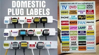 Home Plug Labels. Help Identify Which Plug's Which. A5. Set of 36.