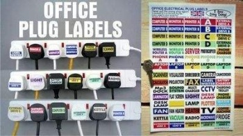 Office Plug Labels. Help Identify Which Plug's Which. A4. Set of 70.