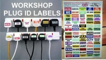Workshop Plug Labels. Help Identify Which Plug's Which. A4. Set of 70.
