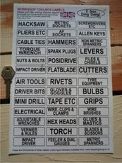 Workshop Drawer Labels. Help Identify Where Your Tools Are. Black & White A4. Set of 39.