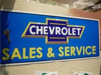 "Chevrolet Sales & Service Sticker. 23.5""."