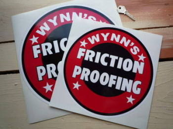 "Wynn's Friction Proofing Circular Sticker. 10"" or 12""."