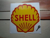 "Shell Classic Logo Sticker. 8.5"", 9"" or 12""."