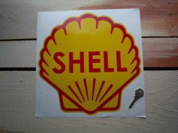 "Shell Classic Logo Sticker. 8.5"", 9"" or 12""."