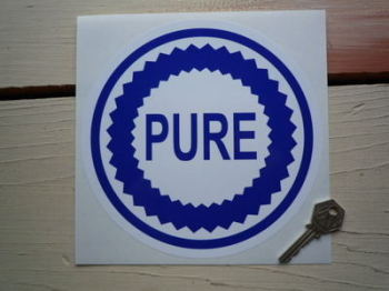"Pure Blue & White Round Sticker. 7.5""."