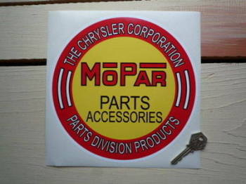 "Mopar Parts & Accessories Chrysler Sticker. 8.5""."