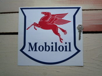 "Mobil Mobiloil Navy, Red & White Serif Style Shield Sticker. 10""."