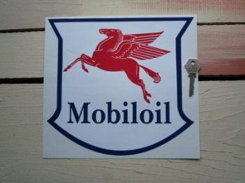 "Mobil Mobiloil Navy, Red & White Serif Style Shield Sticker. 10""."