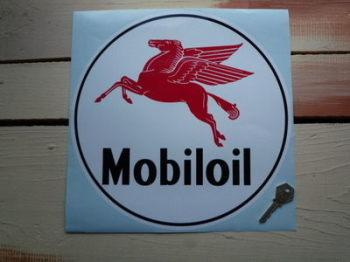 "Mobil Mobiloil Pegasus Circular Sticker. 11"" or 12""."