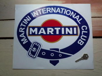 "Martini International Club. Belted Logo with Gold Sticker. 12"" or 13.5""."