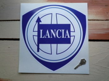 "Lancia Blue & White Shield Sticker. 16""."
