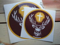 "Jagermeister Logo Circular Stickers. 10"", 12"" or 13"".."