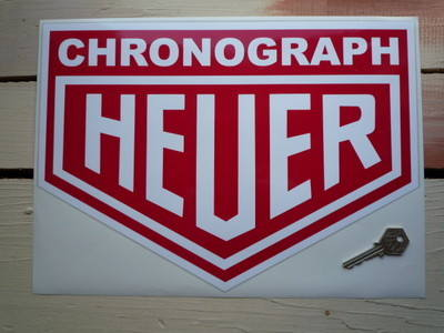 """Chronograph Heuer. Red & White Sticker. 12"""" or 14""""."""