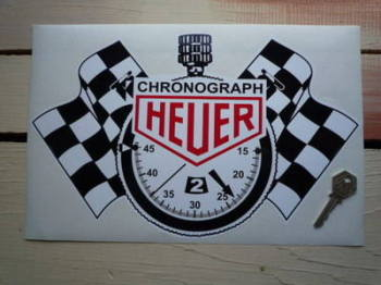 "Chronograph Heuer. Stopwatch Sticker. 13""."