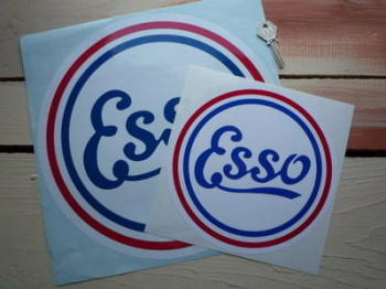 "Esso Old Style Round Sticker. 6.5"" or 8""."