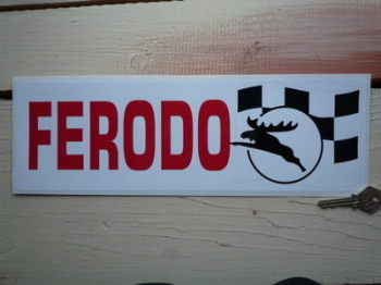 "Ferodo Stag & Chequered Flag Sticker. 13.5""."