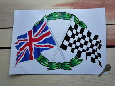 "Crossed Union Jack & Chequered Flag with Garland Sticker. 15""."