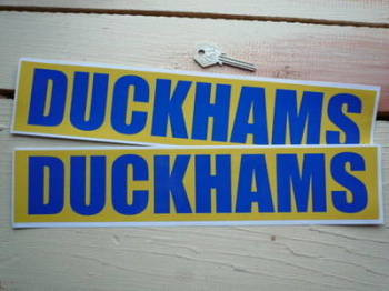 "Duckhams Oil Classic Style Text Blue on Yellow Oblong Stickers. 14"" Pair."