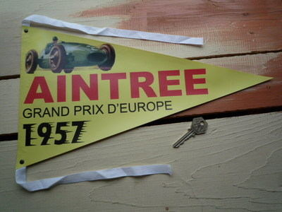"""Aintree Grand Prix D'Europe 1957 Pennant Banner. 12"""" or 15""""."""