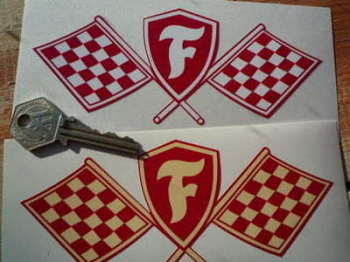 "Firestone Crossed Flag & Shield Sticker. 5"" or 6""."