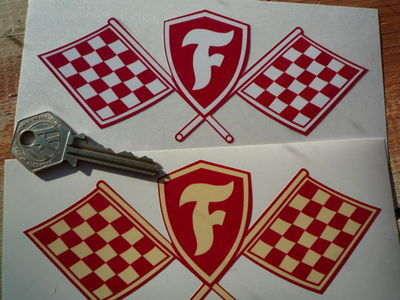 "Firestone Crossed Flag & Shield Sticker. 5"" or 6""."