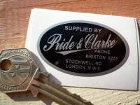 "Pride & Clarke London Motorcycle Dealers Sticker. 2""."