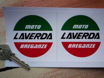 "Laverda Moto Breganze Circular Logo Stickers. 3"" Pair."