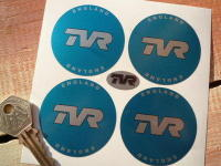 TVR England Light Blue Wheel Centre Stickers. Set of 4. 38mm or 50mm.