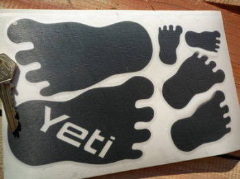 Skoda Yeti Footprint Stickers. Set of 6.