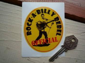 "Official Rock-A-Billy Rebel Sticker. 3""."