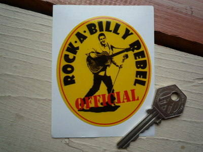 "Official Rock-A-Billy Rebel Sticker. 3""."