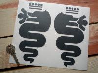 "Alfa Romeo Serpent Stickers. Cut Vinyl. 7"" Pair."