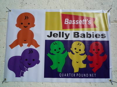 "Bassett's Jelly Babies Retro Banner Art. Special Offer to Clear. 39"" x 27""."