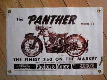 "Phelon & Moore Panther model 75 Finest 350 Art Banner. 23"" x 15""."
