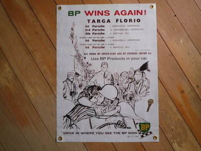 "BP Wins Again! Targa Florio. Art Banner. 18"" x 25""."