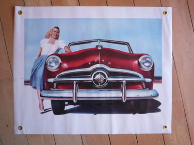 """Ford Convertible and Lady Banner Art. 26"""" x 21"""". Slight Second 046."""