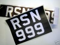A set of Stick On Car Number Plates for Classic Cars. 82mm Tall Mandatory font Digits.
