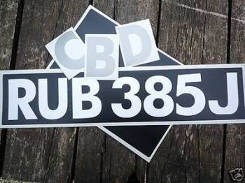 Stick On Car Number Plate Set - Brushscript Font - Cut Vinyl - 82mm Tall Digits