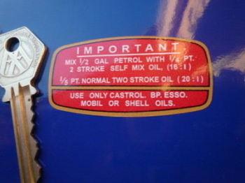 """Raleigh Wisp Runabout 2 Stroke Mix Ratios Sticker. 2.5""""."""