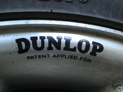 Dunlop Alloy & Wire Wheel Black on Clear Stickers. Set of 4. 2