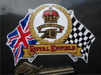 "Royal Enfield Flag & Scroll Sticker. 4""."