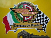 """Ducati Meccanica Flag & Scroll Sticker. 4"""""""