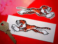 Leaping Tiger Stickers. White. 4
